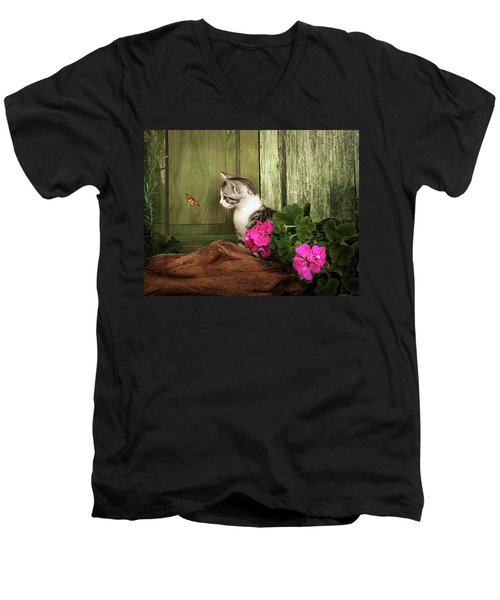 One Cute Kitten Waiting At The Door Men's V-Neck T-Shirt