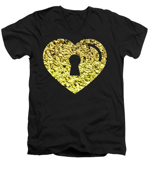 One Heart One Key 2 Men's V-Neck T-Shirt