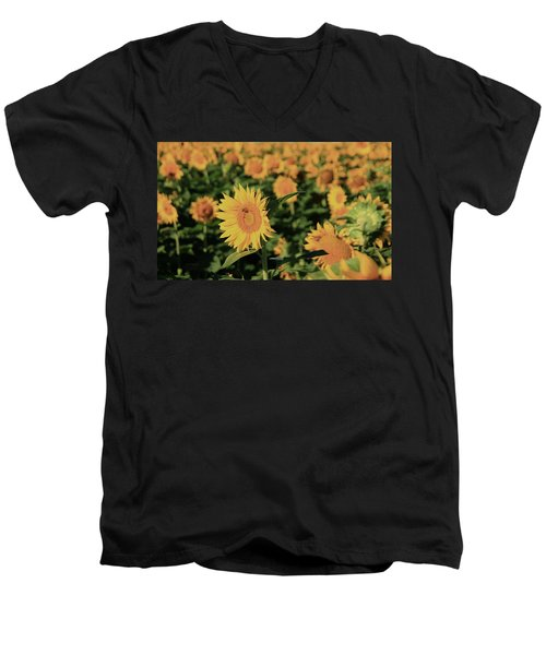 Men's V-Neck T-Shirt featuring the photograph One In A Million Sunflowers by Chris Berry