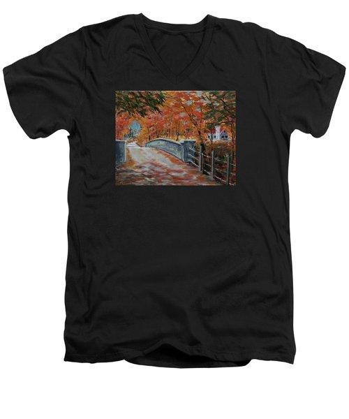 One Lane Bridge Men's V-Neck T-Shirt by Mike Caitham
