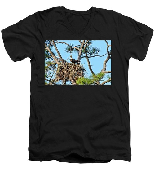 Men's V-Neck T-Shirt featuring the photograph One More Twig by Deborah Benoit