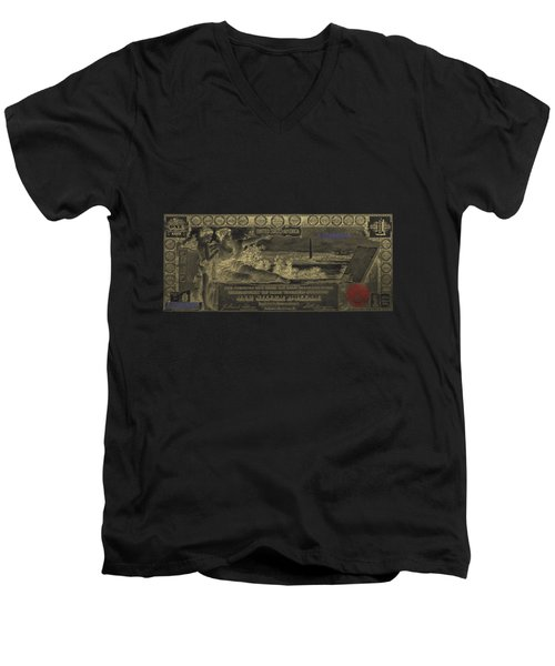 Men's V-Neck T-Shirt featuring the digital art One U.s. Dollar Bill - 1896 Educational Series In Gold On Black  by Serge Averbukh