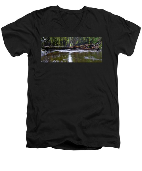 Men's V-Neck T-Shirt featuring the photograph Oneonta Pano by Jonathan Davison