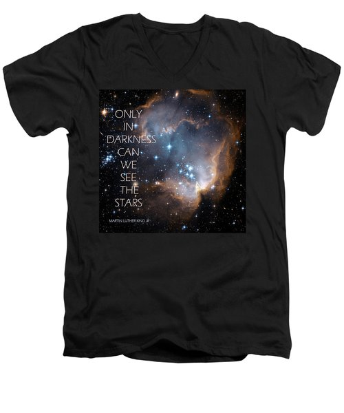 Men's V-Neck T-Shirt featuring the digital art Only In Darkness by Lora Serra