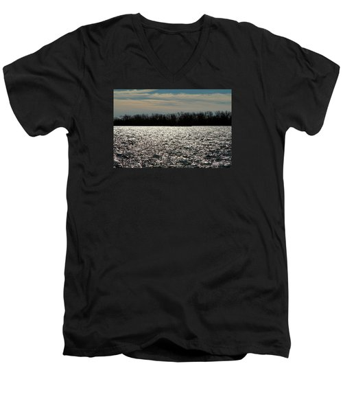 Men's V-Neck T-Shirt featuring the photograph Ontario Winter Reflections by Valentino Visentini