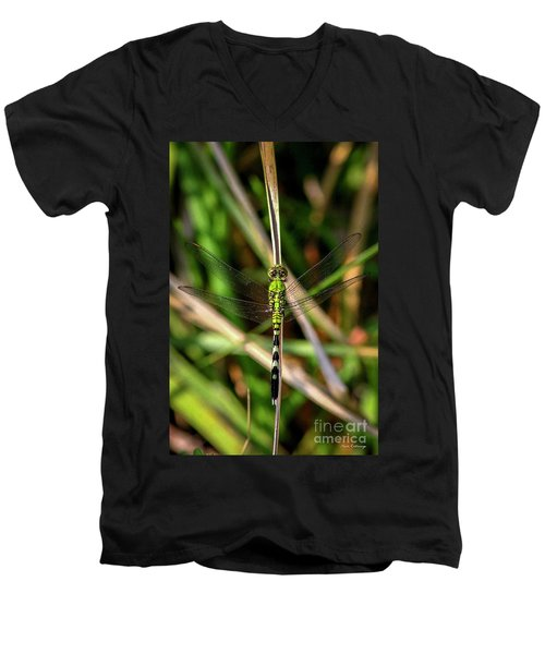 Men's V-Neck T-Shirt featuring the photograph Openminded Green Dragonfly Art by Reid Callaway