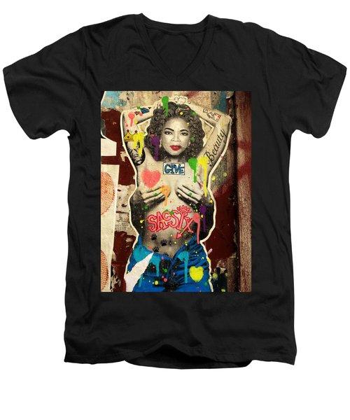 Oprah Winfrey Graffiti In New York  Men's V-Neck T-Shirt by Funkpix Photo Hunter