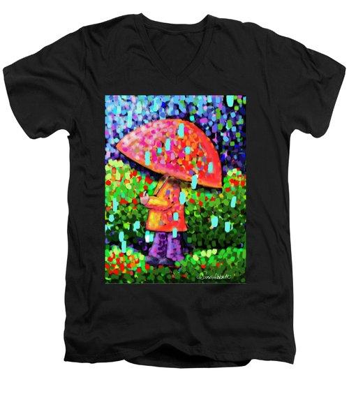 Rainy Day Stroll Men's V-Neck T-Shirt by Dani Abbott