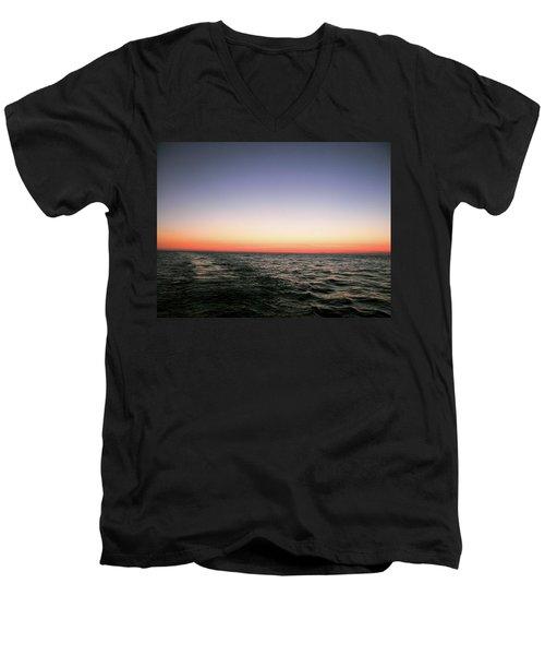 Orange And Black Men's V-Neck T-Shirt