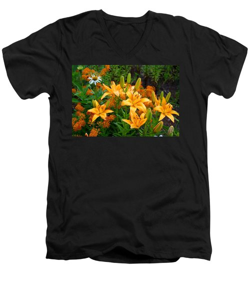 Men's V-Neck T-Shirt featuring the photograph Orange Asiatic Lilies And Butterfly Weed by Kathryn Meyer
