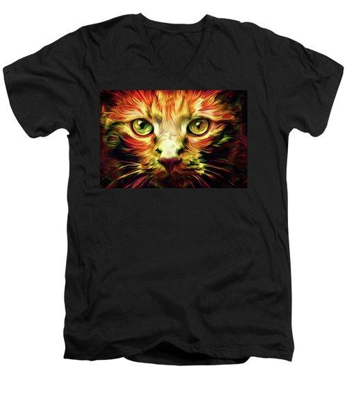Orange Cat Art - Feed Me Men's V-Neck T-Shirt