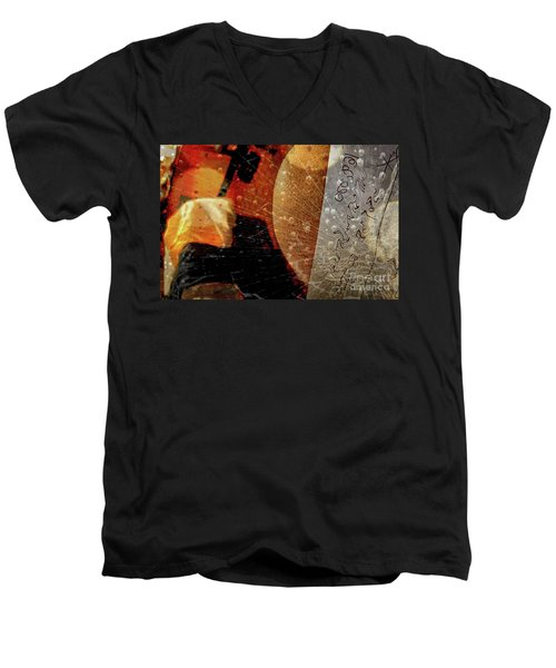 Orange Crush Men's V-Neck T-Shirt by Kathie Chicoine