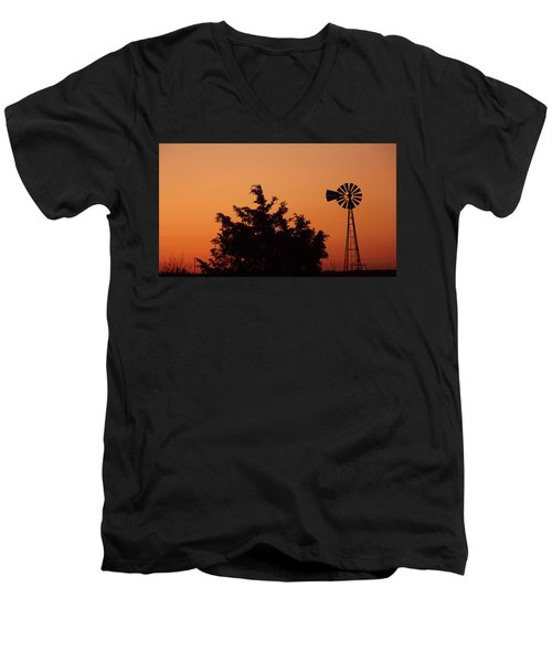 Orange Dawn With Windmill Men's V-Neck T-Shirt