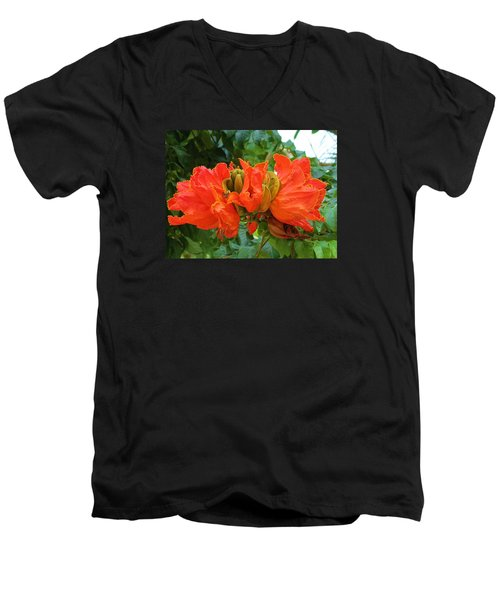 Orange Flowers Men's V-Neck T-Shirt