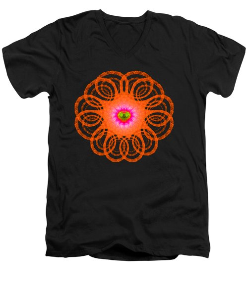 Orange Fractal Art Mandala Style Men's V-Neck T-Shirt by Matthias Hauser
