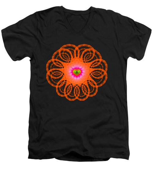 Orange Fractal Art Mandala Style Men's V-Neck T-Shirt