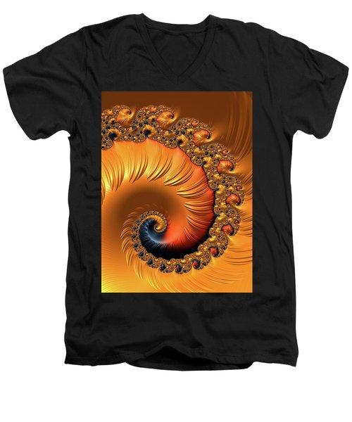 Men's V-Neck T-Shirt featuring the digital art Orange Fractal Spiral Warm Tones by Matthias Hauser