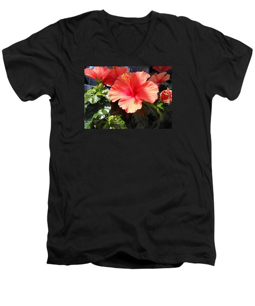 Men's V-Neck T-Shirt featuring the photograph Orange Hibiscus by Kay Gilley