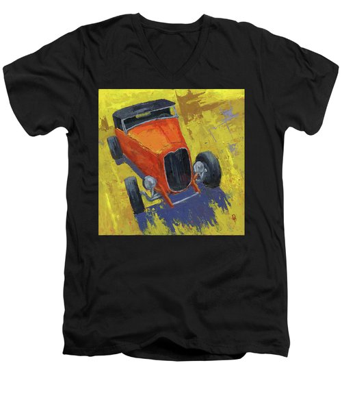 Orange Hot Rod Roadster Men's V-Neck T-Shirt