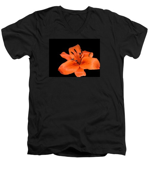 Men's V-Neck T-Shirt featuring the photograph Orange Orchid On Black by Karen Nicholson