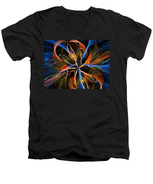 Orange Ribbons Men's V-Neck T-Shirt
