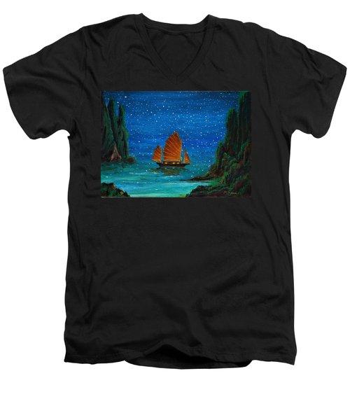 Orange Sail Men's V-Neck T-Shirt
