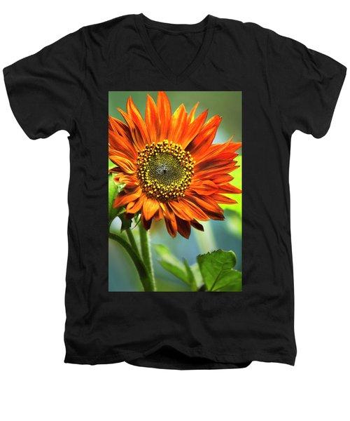 Orange Sunflower Men's V-Neck T-Shirt