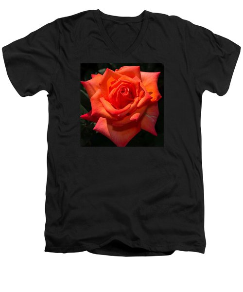 Orange Tropicana Rose  Men's V-Neck T-Shirt by Michael Moriarty