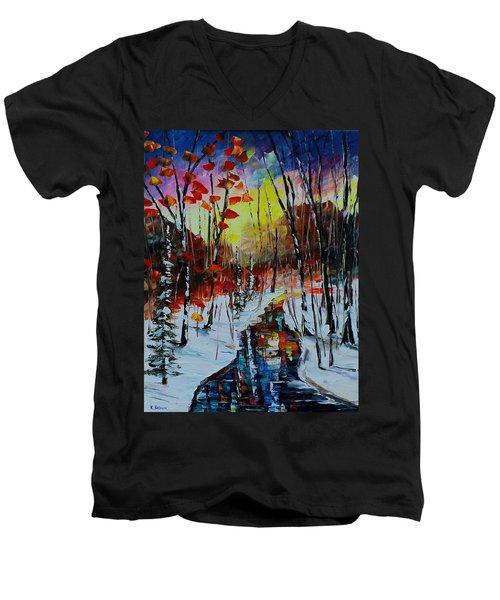 Orange Winter Men's V-Neck T-Shirt