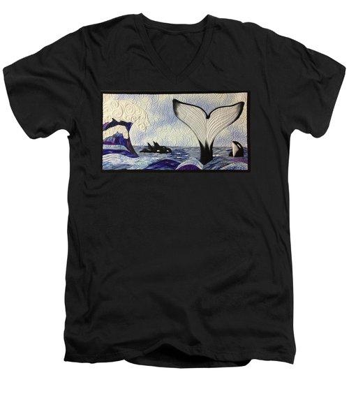 Orcas At Play Men's V-Neck T-Shirt