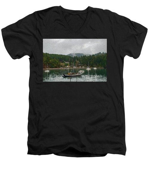 Orcas Island Digital Enhancement Men's V-Neck T-Shirt