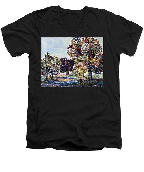 Orchard Men's V-Neck T-Shirt by Erika Pochybova