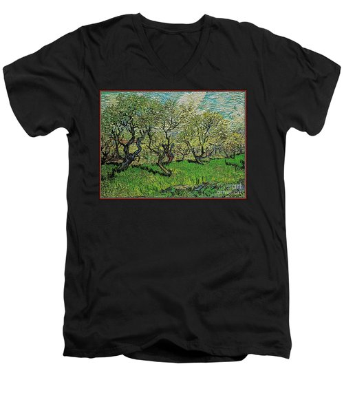 Orchard In Blossom Men's V-Neck T-Shirt by Pemaro