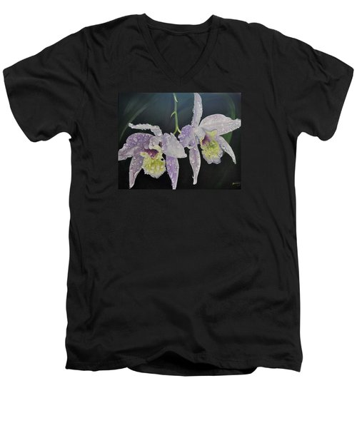 Orchid Jewels Men's V-Neck T-Shirt