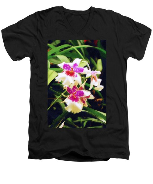 Men's V-Neck T-Shirt featuring the painting Orchids 1 by Sandy MacGowan