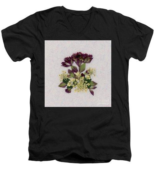 Oregano Florets And Leaves Pressed Flower Design Men's V-Neck T-Shirt