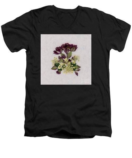 Oregano Florets And Leaves Pressed Flower Design Men's V-Neck T-Shirt