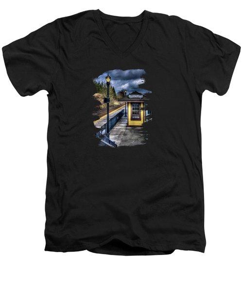 Oregon City Train Depot Men's V-Neck T-Shirt by Thom Zehrfeld