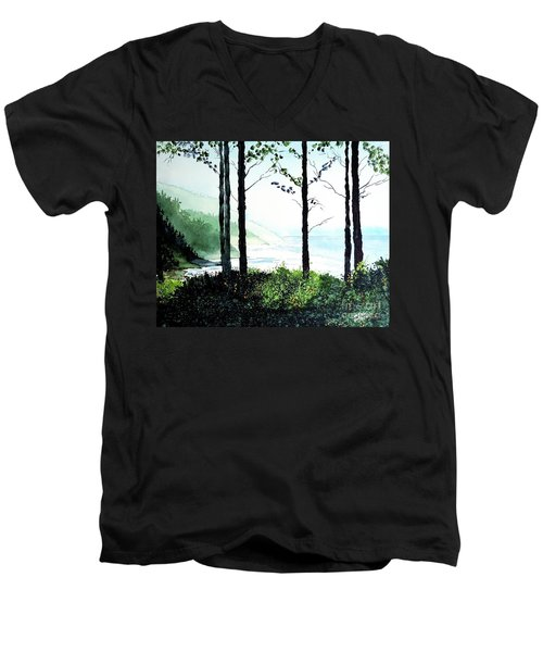 Men's V-Neck T-Shirt featuring the painting Oregon Coast by Tom Riggs