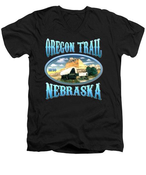 Oregon Trail Nebraska - Tshirt Design Men's V-Neck T-Shirt by Art America Gallery Peter Potter