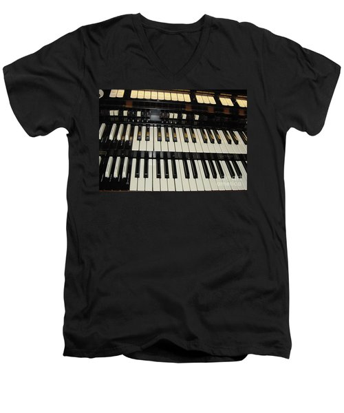 Hammond Organ Keys Men's V-Neck T-Shirt