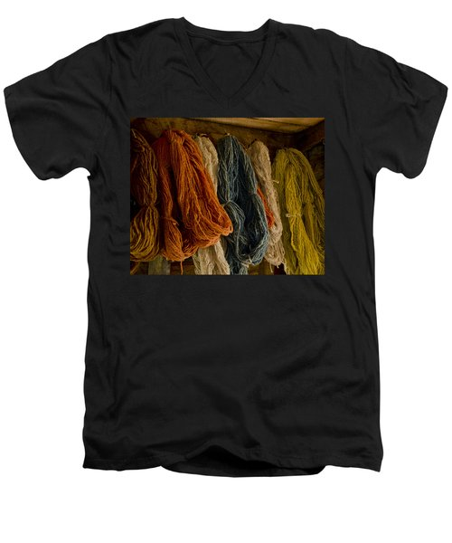 Organic Yarn And Natural Dyes Men's V-Neck T-Shirt by Wilma  Birdwell