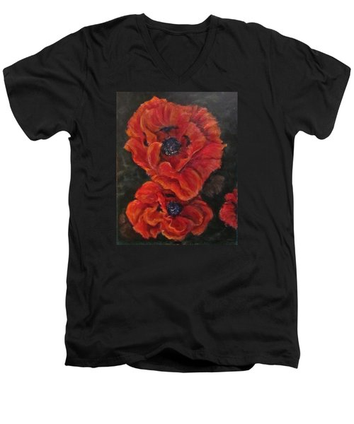 Oriental Poppys  Men's V-Neck T-Shirt