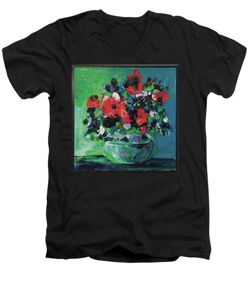 Men's V-Neck T-Shirt featuring the painting Original Bouquetaday Floral Painting By Elaine Elliott, Blues And Greens, 12x12, 59.00 Incl. Shippin by Elaine Elliott