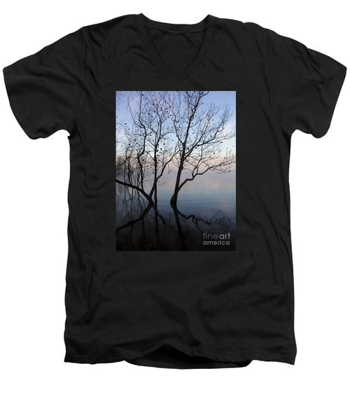 Men's V-Neck T-Shirt featuring the photograph Original Dancing Tree by Paula Guttilla