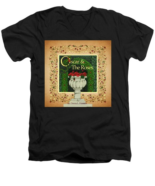 Men's V-Neck T-Shirt featuring the digital art Oscar And The Roses Book Cover by Donna Huntriss