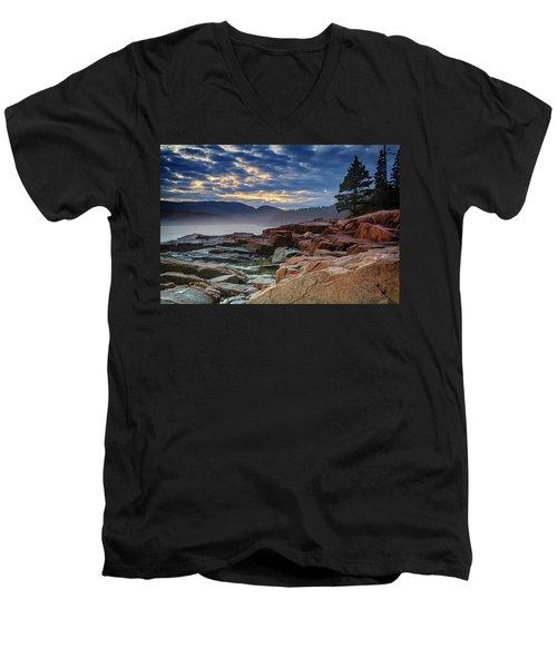 Otter Cove In The Mist Men's V-Neck T-Shirt by Rick Berk