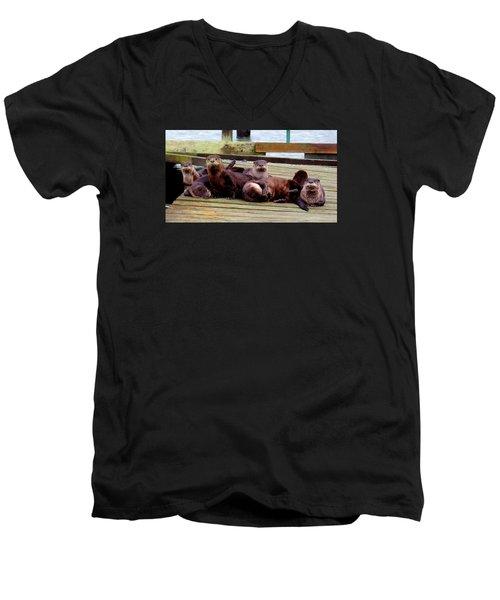 Men's V-Neck T-Shirt featuring the photograph Otter Party by Karen Molenaar Terrell