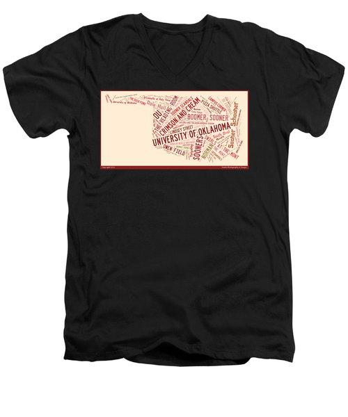 Ou Word Art University Of Oklahoma Men's V-Neck T-Shirt by Roberta Peake