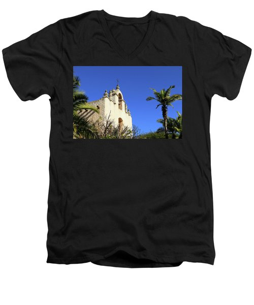 Men's V-Neck T-Shirt featuring the photograph Our Lady Of Mount Carmel - Montecito by Art Block Collections